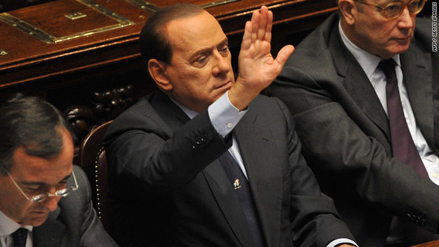 Italian Prime Minister Silvio Berlusconi prior to a confidence vote in the Italian lower house.