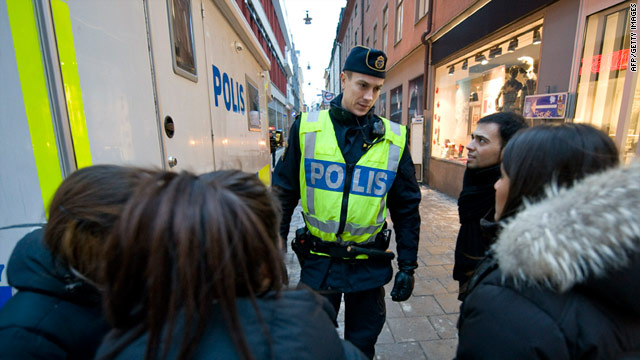 Swedish police patrol central Stockholm after the bombing at the weekend.
