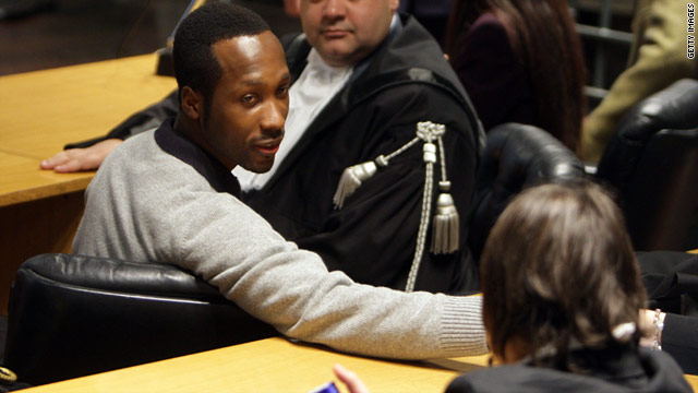 Rudy Guede sits in court during his appeal hearing in Perugia, Italy on November 18, 2009.