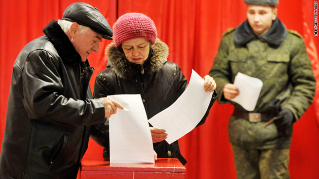People cast their votes during the presidential election near Minsk, Belarus, on Sunday. The nation is a former Soviet Republic.