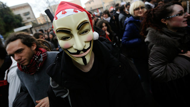 Students protest in Rome on Wednesday against planned university reforms by Prime Minister Silvio Berlusconi's government.