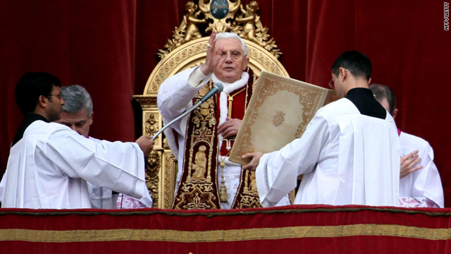 Pope Benedict XVI delivers his annual Christmas Day blessing from the Vatican. He urged peace in the Middle East.