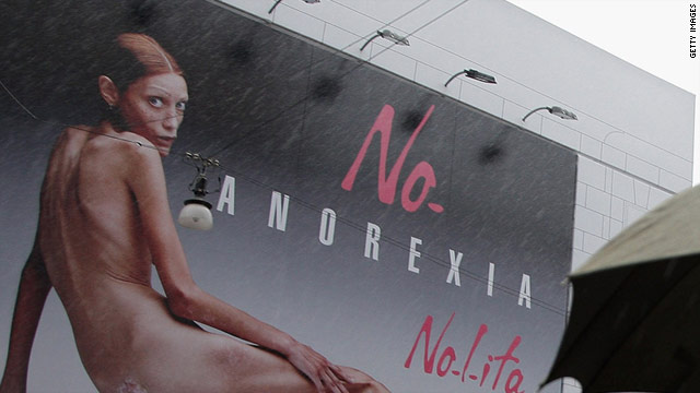 French model Isabelle Caro poses nude in the controversial ad campaign against anorexia in 2007.
