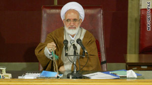 In this file image from April 2004 Mehdi Karrubi is pictured during his tenure as speaker of the Iranian parliament.