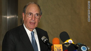 U.S. envoy George Mitchell speaks to reporters in Damascus, Syria, on Wednesday.