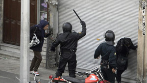 Iranian security forces were out during opposition protests in Tehran on December 27.