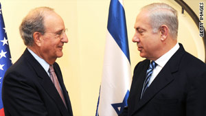 Israeli Prime Minister Benjamin Netanyahu (right) speaks with U.S. Middle East Envoy, George Mitchell.