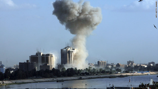 Smoke rises Monday following an explosion near Baghdad's Palestine Hotel.