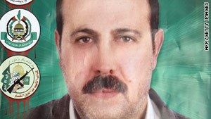 Mahmoud al-Mabhouh, seen here on a poster, was assassinated in January.