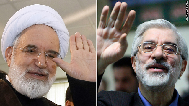 Opposition leaders Mir Hossein Mousavi, right, and Mehdi Karroubi, left, met to discuss the cases of 16 protesters who went on trial Saturday.