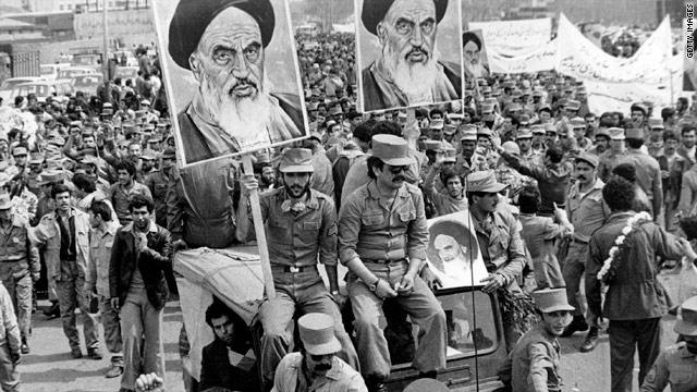 Iranian soldiers demonstrate in support of the people during the 1979 Islamic Revolution.