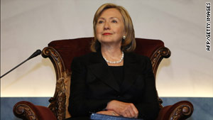 "Iran ""has refused to demonstrate ... that its nuclear program is entirely peaceful,"" Clinton said Sunday in Qatar."