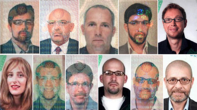 Passport photos showing the 11 suspects wanted over the murder of Hamas official Mahmoud al-Mabhouh.