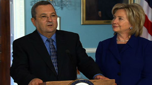 Israeli Defense Minister Ehud Barak and U.S. Secretary of State Hillary Clinton speak to reporters Friday.