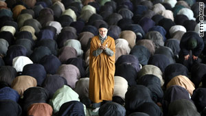 Iranian worshippers listen to a weekly Friday prayer at Tehran University.