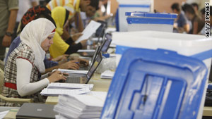 Staffers continue to count ballots from the March 7, 2010, Iraqi elections.