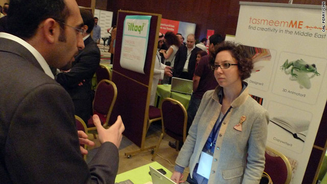"Noor El Fadl (right) was inspired at the ArabNet conference and she ""could not have asked for more exposure."""