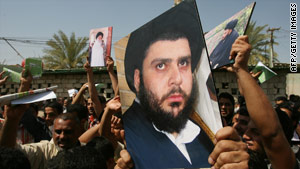 Iraqi Sadrists shout slogans in support of Shiite cleric Muqtada al-Sadr in Baghdad.