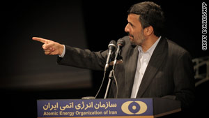 Iran's President Mahmoud Ahmadinejad speaks at an event to mark Iran's National Nuclear Day.