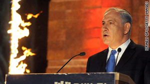 Israeli leader Benjamin Netanyahu notes rising anti-Israeli sentiment Sunday at a Holocaust remembrance ceremony.