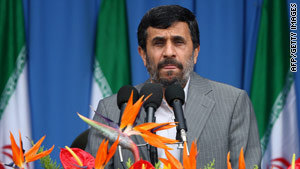 Iranian President Mahmoud Ahmadinejad speaks at an army parade in Tehran on Sunday.