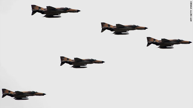 F-4 Phantom fighter jets fly during the Army Day parade in the Iranian capital Tehran on April 18.