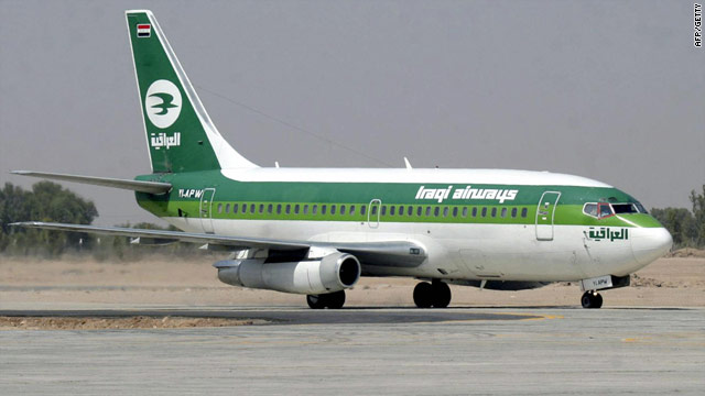 An Iraqi airliner taxis on the runway in this file picture, the airline flew its first flight to London on Sunday.