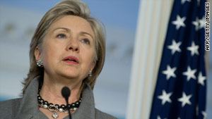 Secretary of State Hillary Clinton harshly rebuked Iran and Syria in an appearance Thursday night.