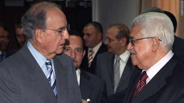 In this photo from the Palestinian Press Office, Palestinian President Mahmoud Abbas, right, receives U.S. Mideast envoy George Mitchell during their meeting on May 7