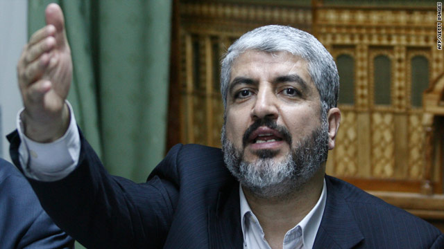 Exiled Hamas leader Khaled Meshaal speaks at a news conference held in Damascus on March 15.
