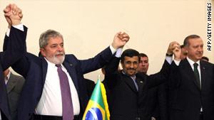 Luiz Inacio Lula da Silva, Mahmoud Ahmadinejad and Recep Tayyip Erdogan broker a nuclear deal.