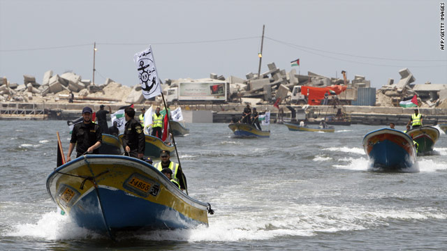 Hamas marine security boats practice off the Gaza coast Wednesday for the expected arrival of an aid flotilla this week.