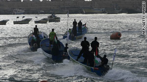 Hamas marine security take to the waters off Gaza City port on May 28 ahead of the expected flotilla.