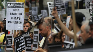 Demonstrators protest on Tuesday in New York City against the Israeli raid on an earlier aid flotilla bound for Gaza.