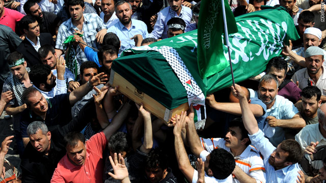 Gaza aid ship victim Cevdet Kiliclar is carried during his funeral service after Friday prayers at Beyazit Mosque in Istanbul.