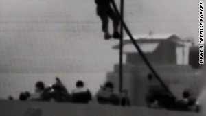 An image taken from video footage released by Israel Defense Forces of the May 31 raid on the Gaza aid flotilla.