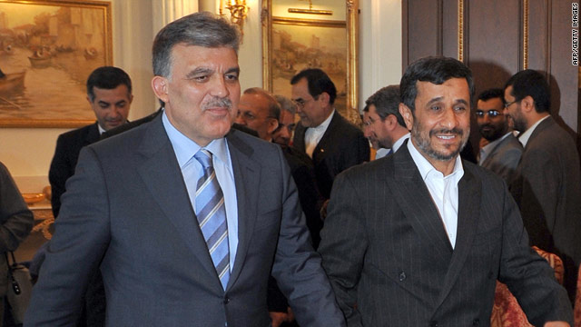 Iranian President Mahmoud Ahmadinejad, right, pictured with Turkish President Abdullah Gul on Monday.