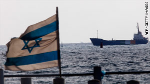 The Gaza aid ship Rachel Corrie enters the military port of Ashdod, Israel, on Saturday.
