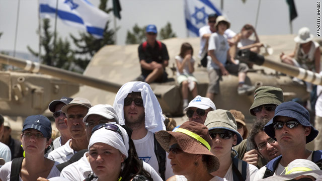 Advocates for the release of abducted Israeli soldier Gilad Shalit prepare to march to Jerusalem.