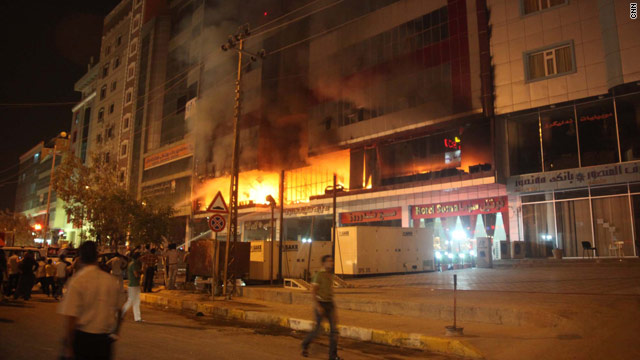 A short circuit is being blamed for starting a fire at the Soma hotel in the city of Sulaimaniya, Iraq, on Thursday.