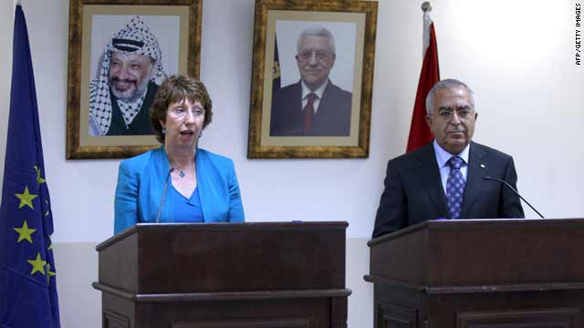 EU foreign affairs chief Catherine Ashton and Palestinian PM Salam Fayyad speak in the West Bank town of Ramallah Saturday.