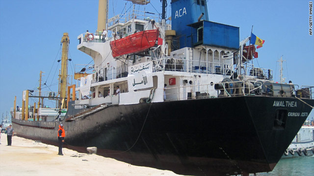 A Libyan ship carrying aid for Gaza docks at the Egyptian port of el-Arish on July 15.