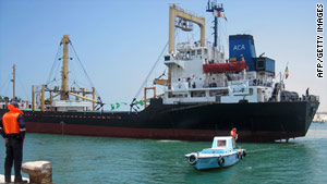 A Libyan-backed ship carrying aid for Gaza arrives at the Egyptian port of in Al Arish on Thursday.
