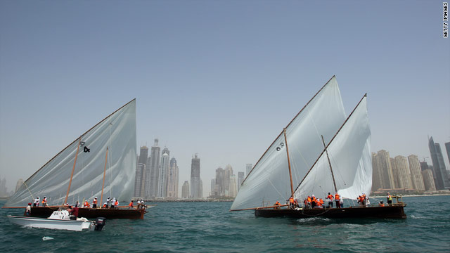 Traditional sailing dhows are popular racing boats among the Emirati youth.