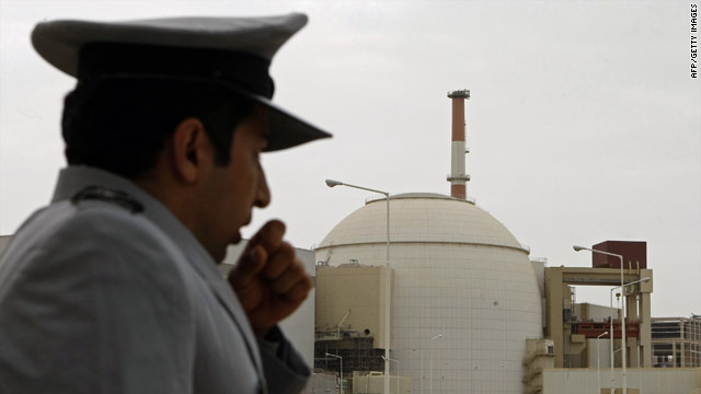 A security guard stands outside an Iranian nuclear reactor site in Bushehr in 2009.