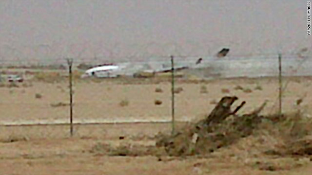 A cellphone picture obtained from Al-Riyadh Saudi newspaper shows the plane at Riyadh's airport.