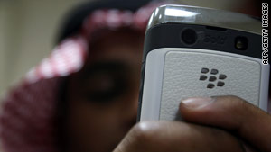 A Saudi man uses his Blackberry in the capital city of Riyadh on August 1.