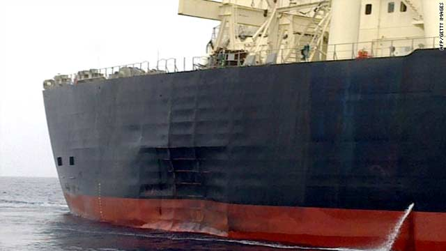 "A Emirati News Agency (WAM) handout shows Japanese oil tanker ""M.Star"" arriving at the Emirati port of Fujairah on July 28."