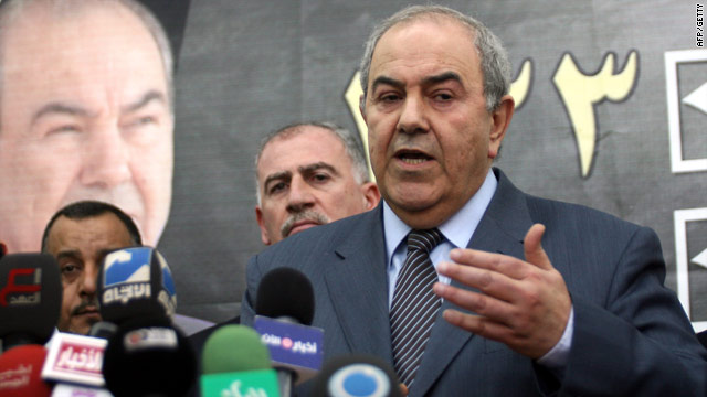 "Photographed here in April, former Iraqi Prime Minister Ayad Allawi's candidate list was described as a ""Sunni list""."