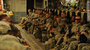 Soldiers with the 702nd Brigade Support Battalion, 4th Stryker Brigade Combat Team, 2nd Infantry Division leave Iraq.